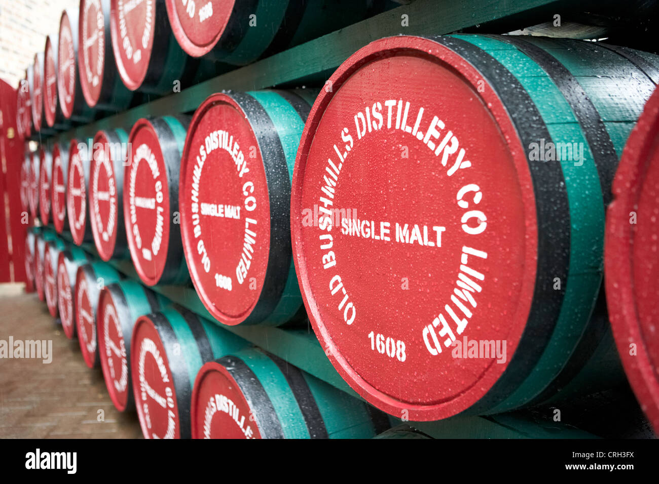 whiskey barrels at the old bushmills distillery county antrim northern ireland uk - Stock Image