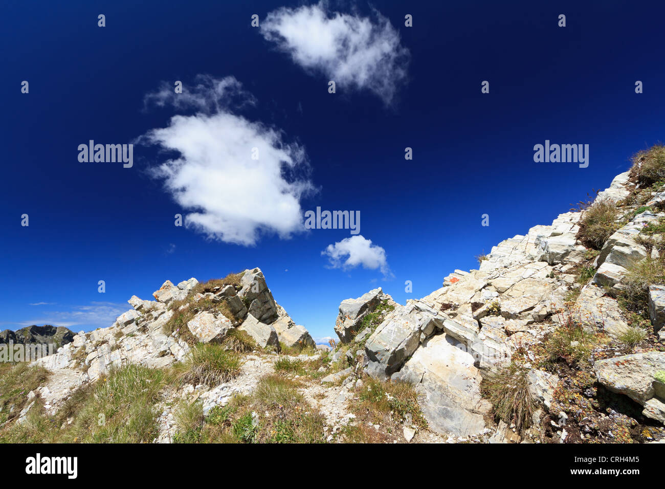 pathway on mountain ridge in San Pellegrino valley, Trentino, Italy Stock Photo