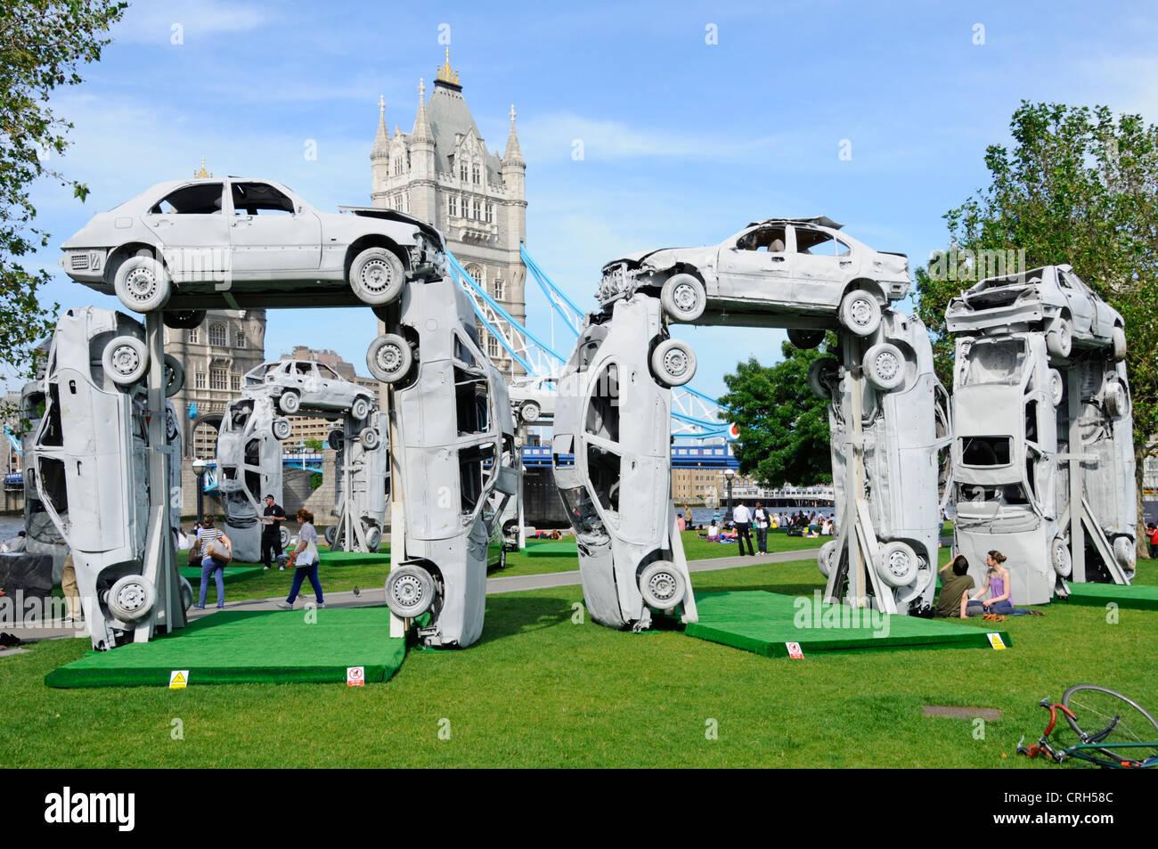 CitiHenge 2012 replica sculpture of Stonehenge, project undertaken by Skoda and built using 18 scrap cars - Stock Image