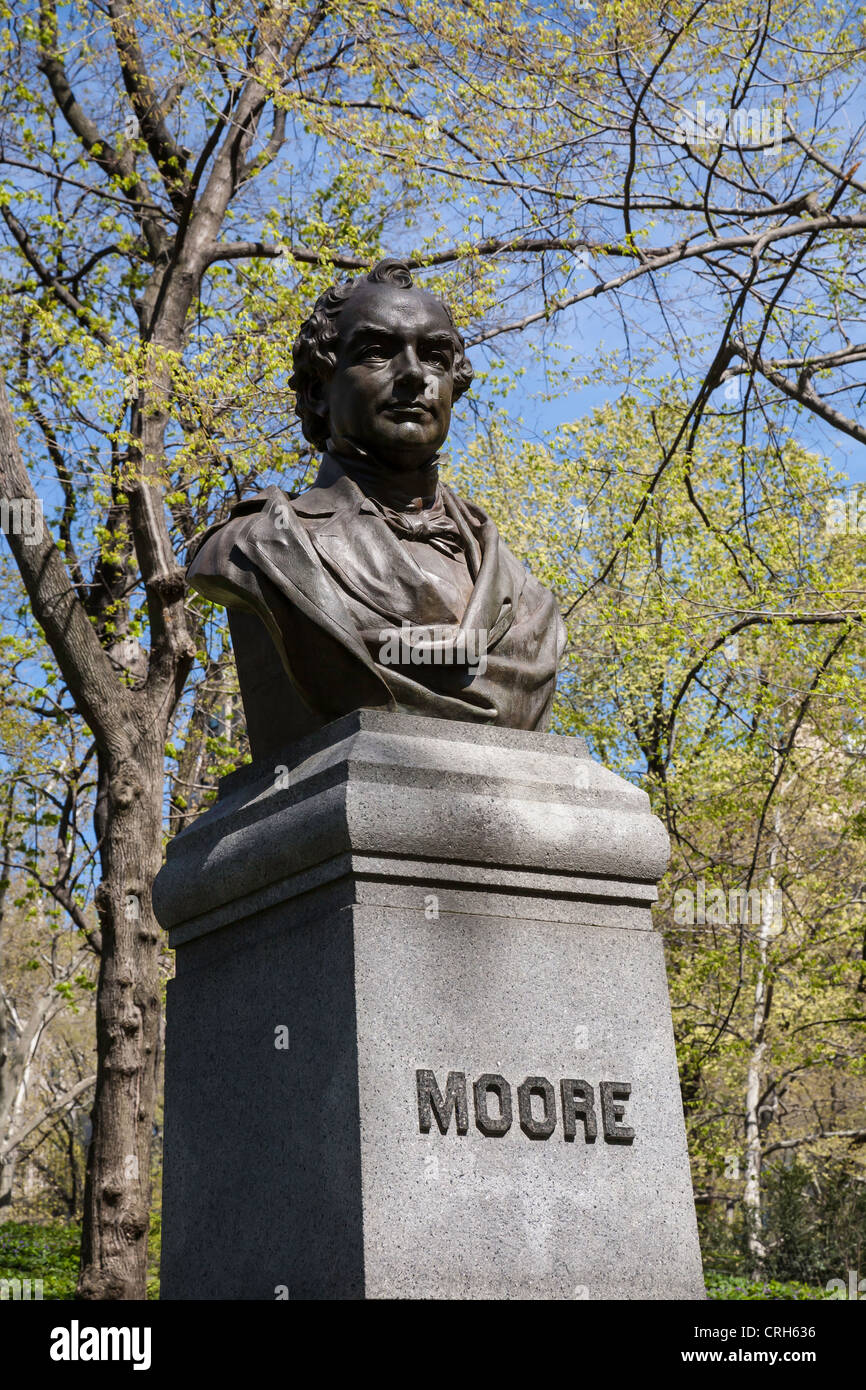 Thomas Moore Bust, Central Park, Manhattan, New York City, NYC - Stock Image