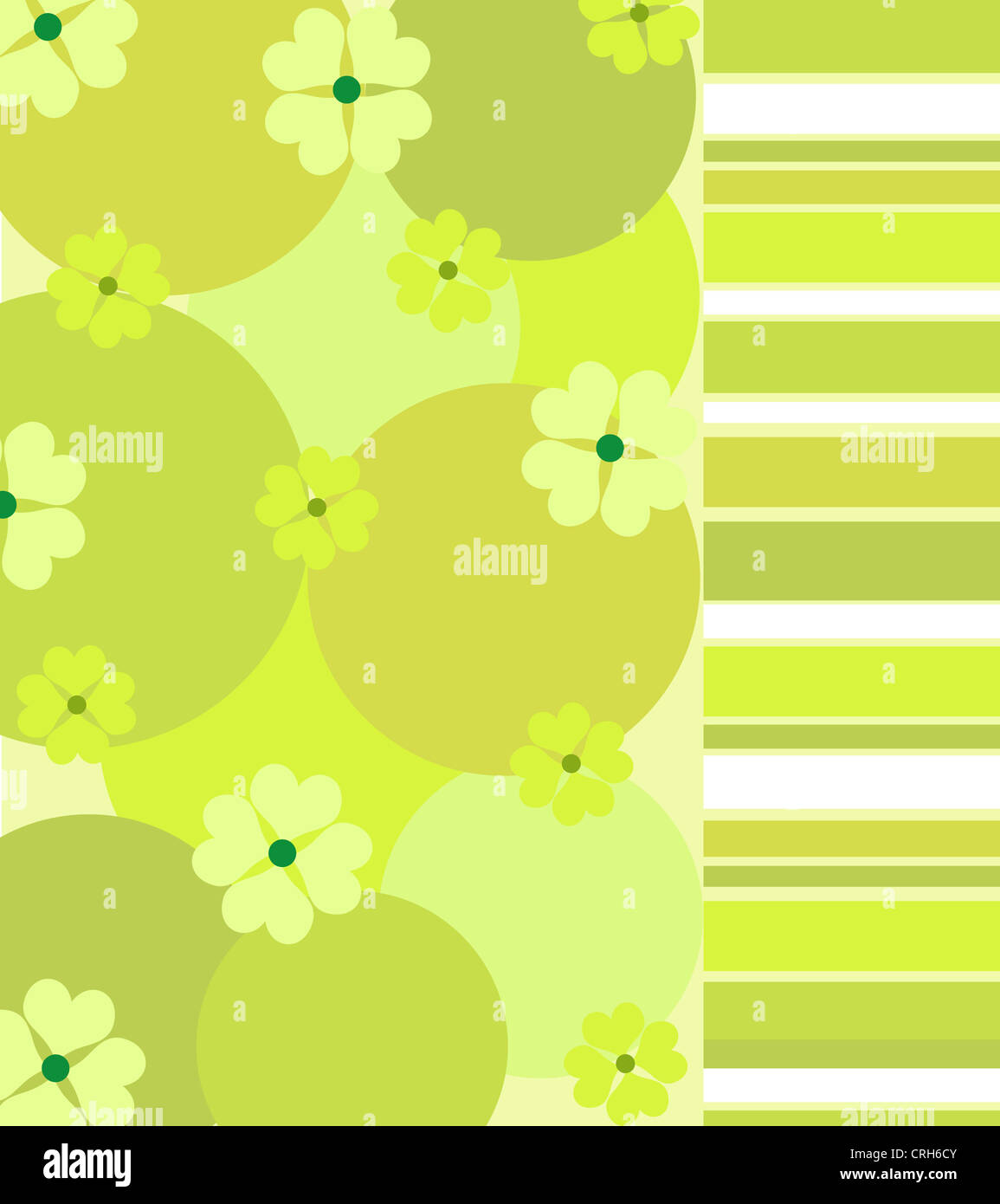 Green clovers and stripes pattern Stock Photo