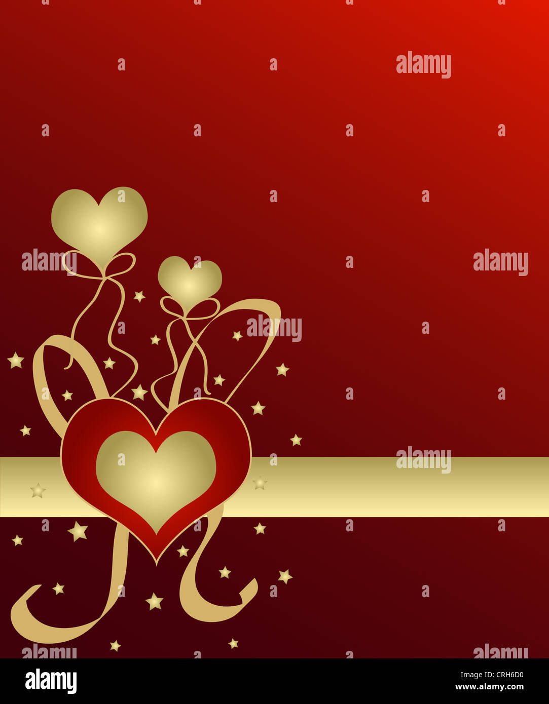 Heart and balloons in gold on red Stock Photo