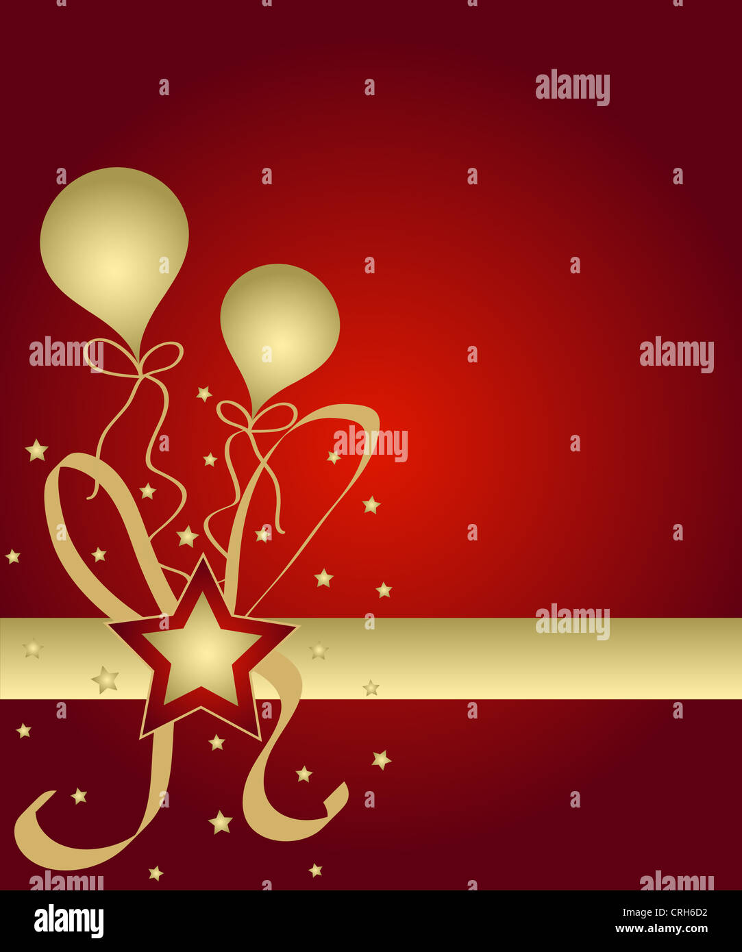 Stars and balloons in red and gold Stock Photo