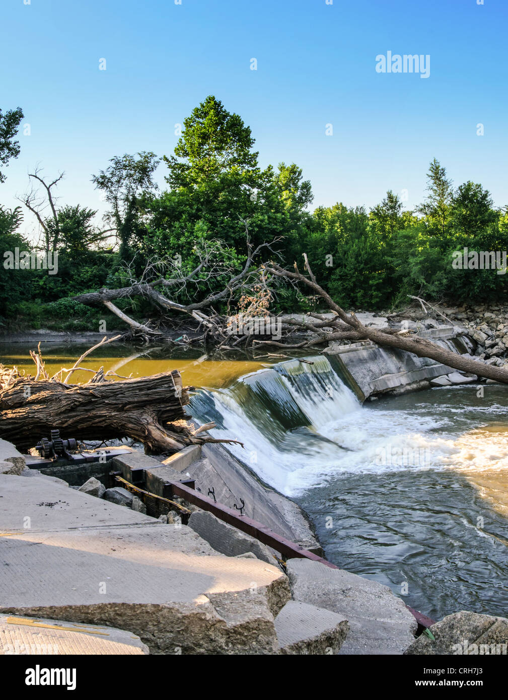 The Cottonwood Falls Dam on the Cottonwood River in Kansas, USA - Stock Image