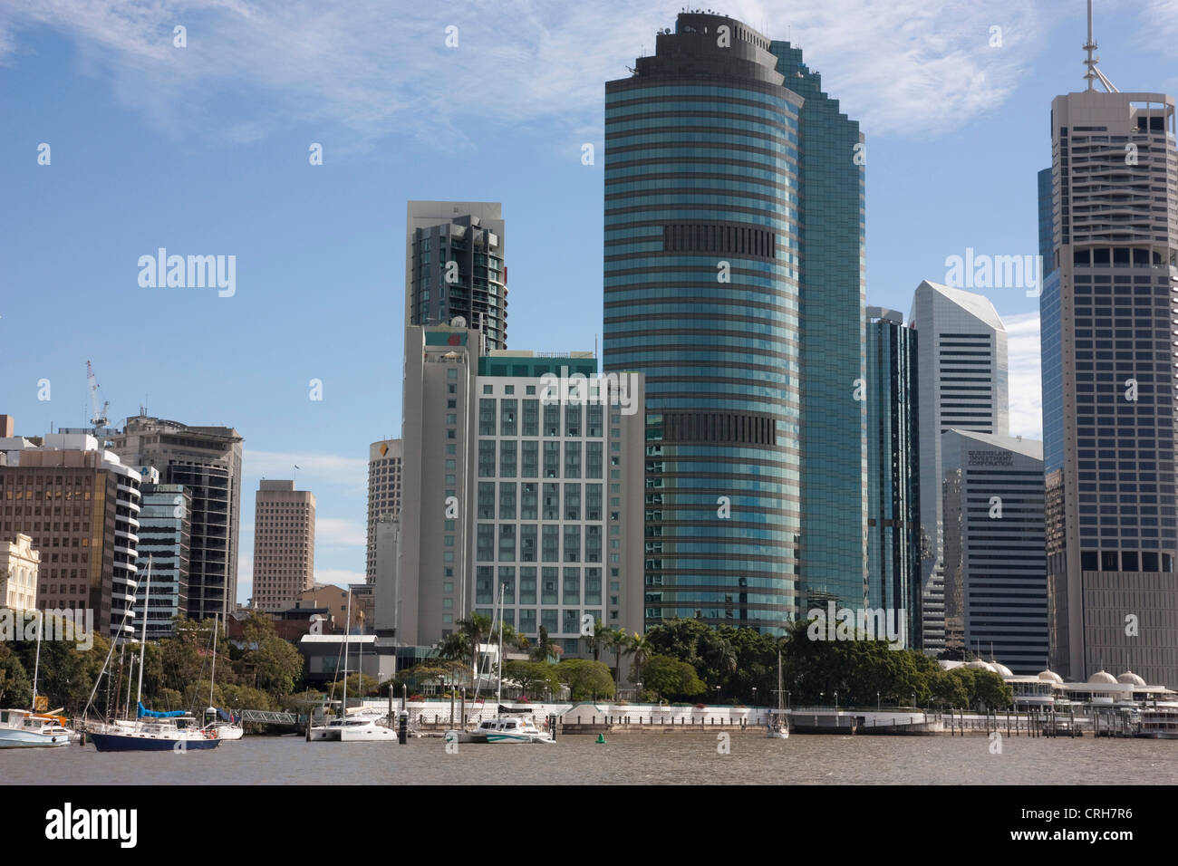 View of the Brisbane city from the Brisbane river at Queensland Australia - Stock Image