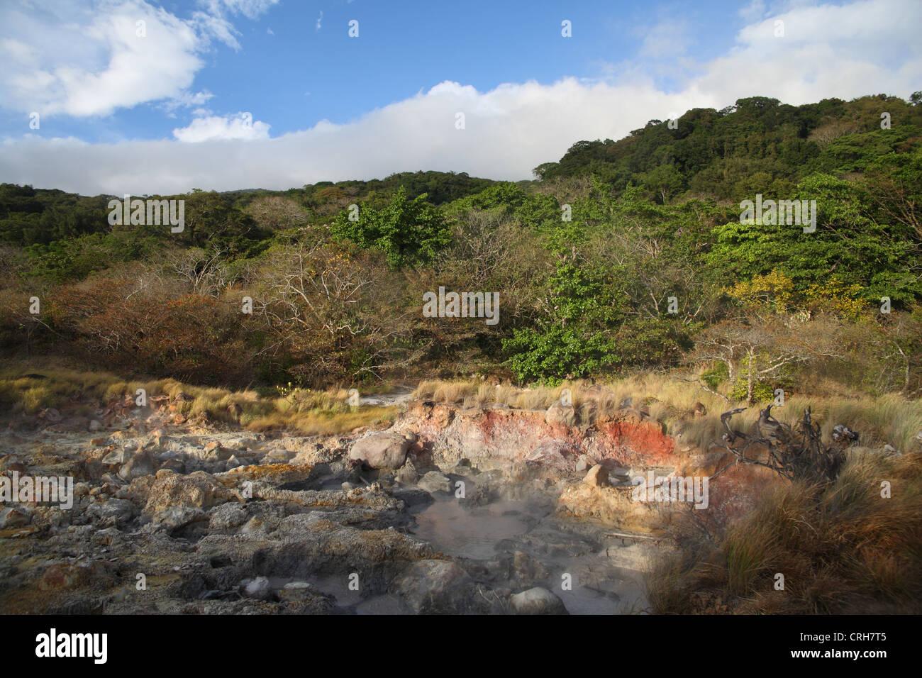 Volcanic fumaroles. Las Pailas trail, Rincon de la Vieja National Park, Guanacaste, Costa Rica. February 2012. - Stock Image