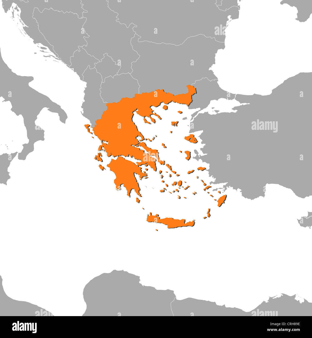 Political Map Of Greece With The Several States Stock Photo