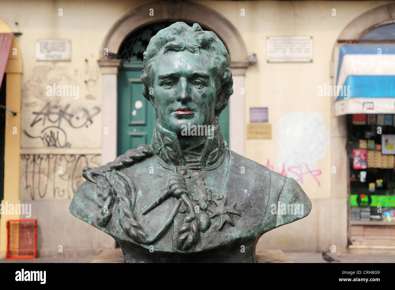 Bust of Arthur Wellesley, the Duke of Wellington, in Porto, Portugal. - Stock Image