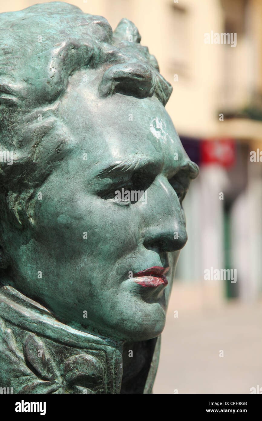 Face of Arthur Wellesley, the Duke of Wellington, on a bust in Porto, Portugal. - Stock Image