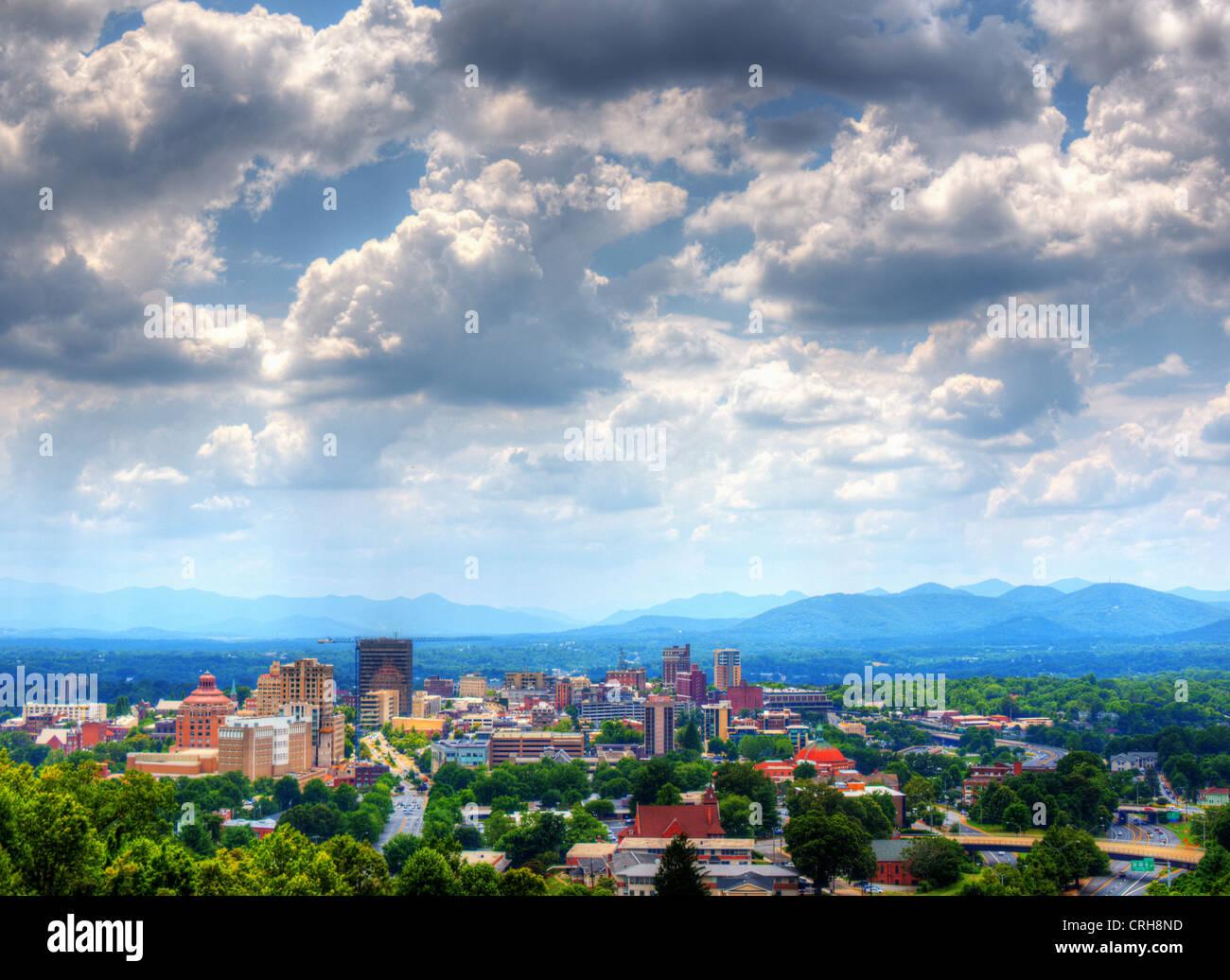 Asheville, North Carolina skyline nestled in the Blue Ridge Mountains. Stock Photo