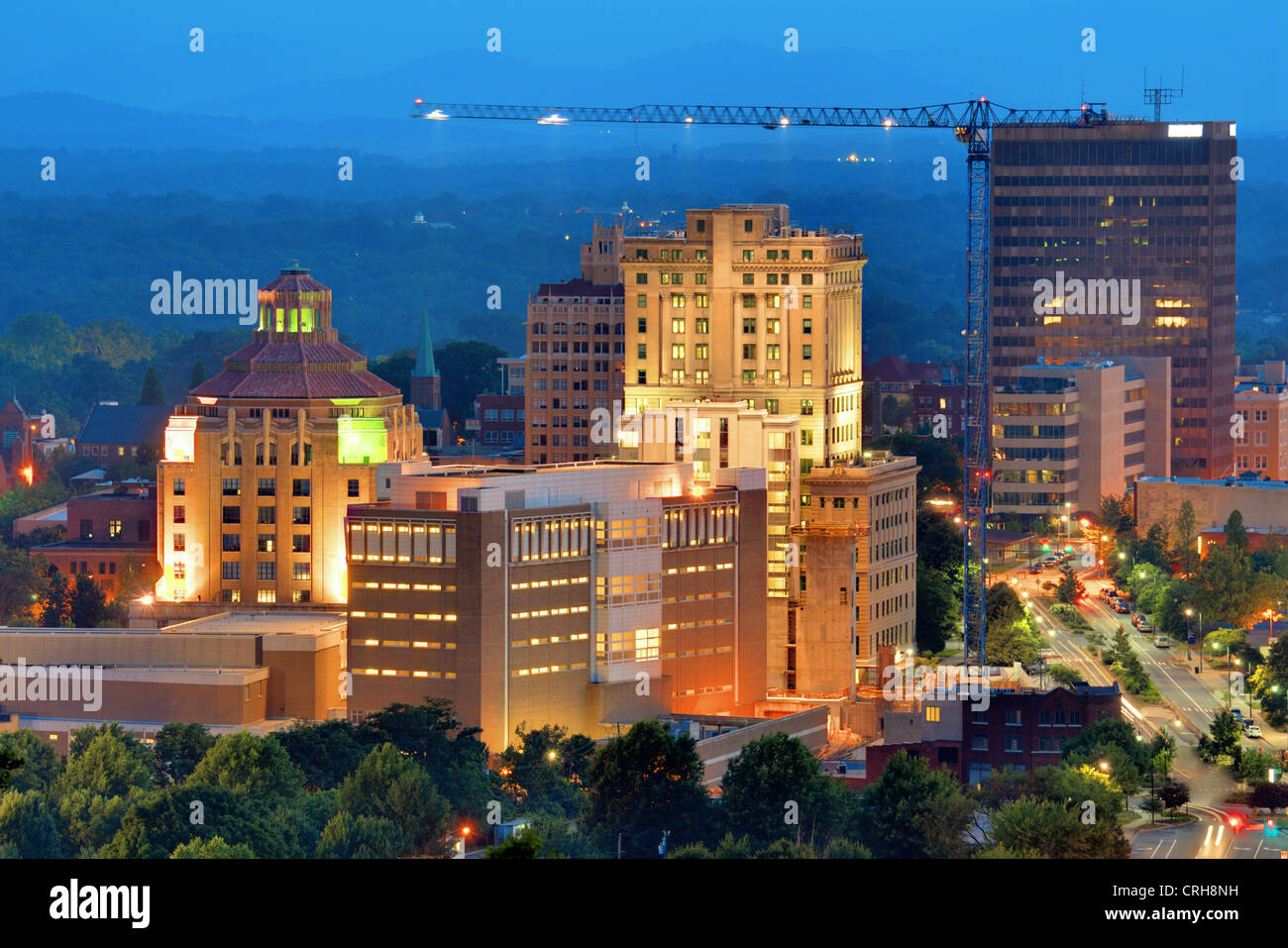 Downtown Asheville, North Carolina's city hall and courthouse building amoung other notable structures. - Stock Image