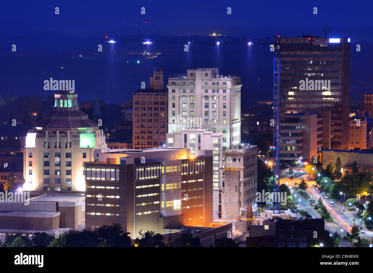Downtown Asheville, North Carolina's city hall and courthouse building among other notable structures. - Stock Image