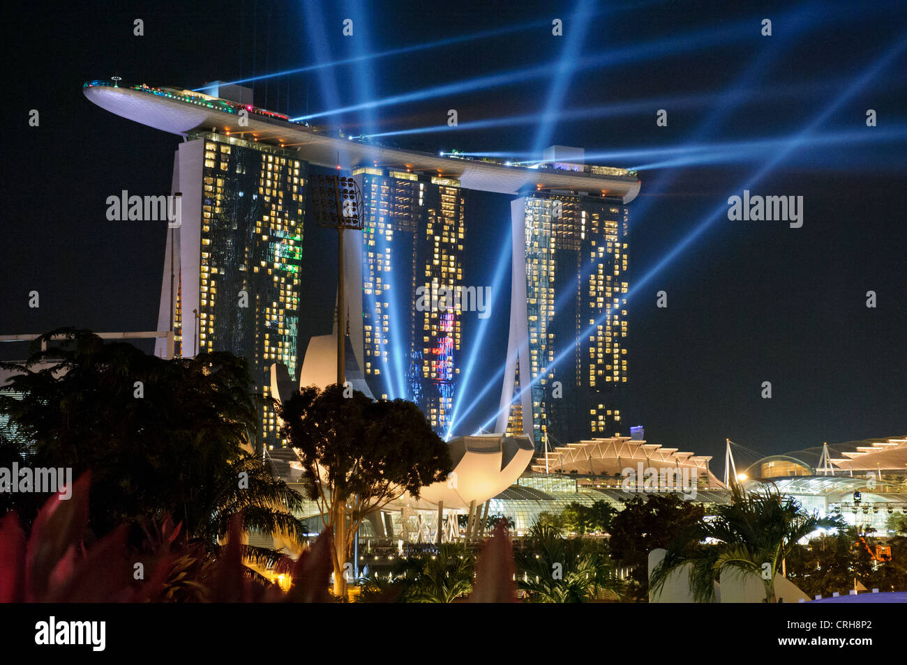 Marina Bay Sands Hotel by night, Marina Bay, Singapore. - Stock Image