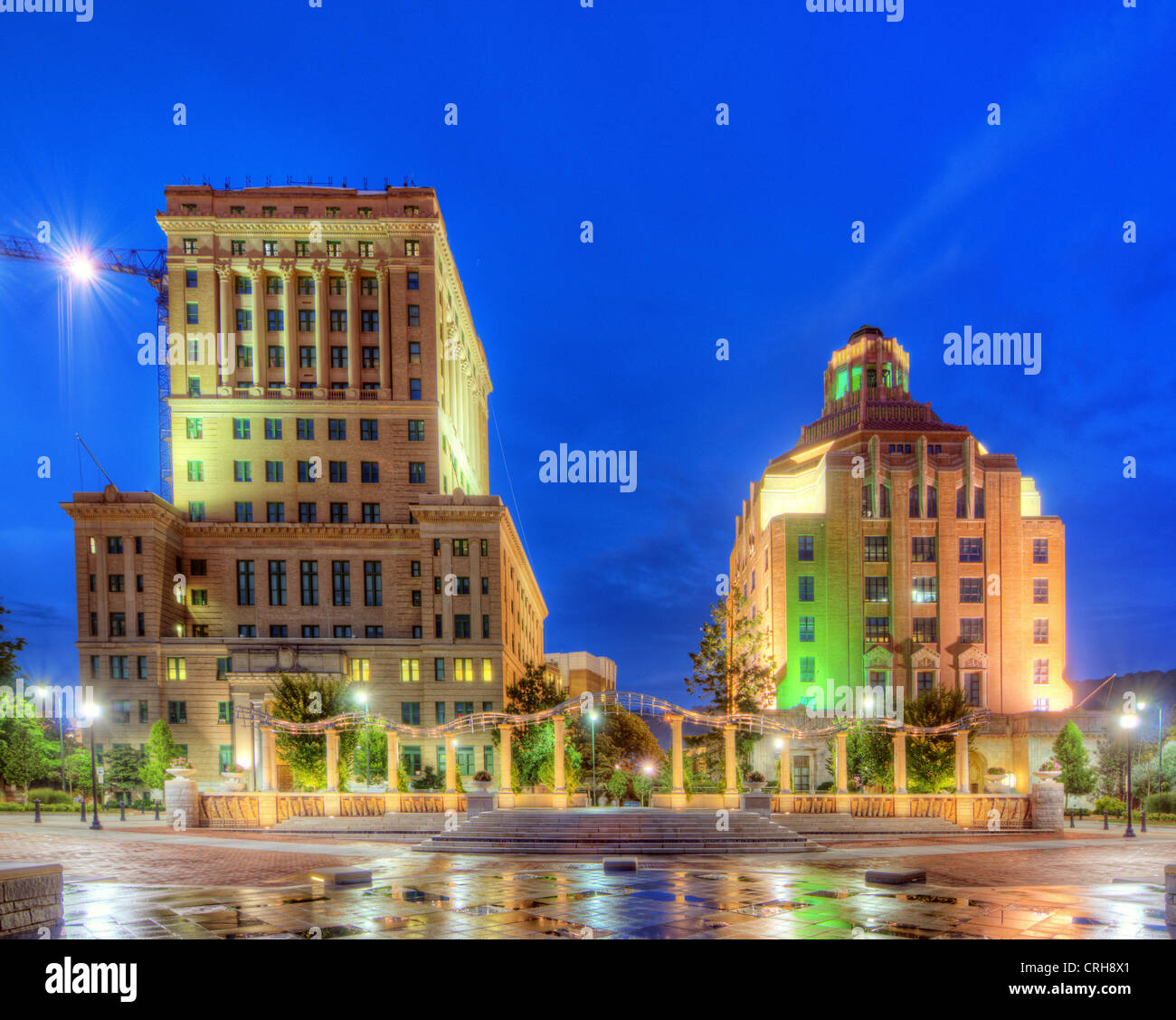 Pack Square Park with government buildings behind in downtown Asheville, North Carolina, USA Stock Photo