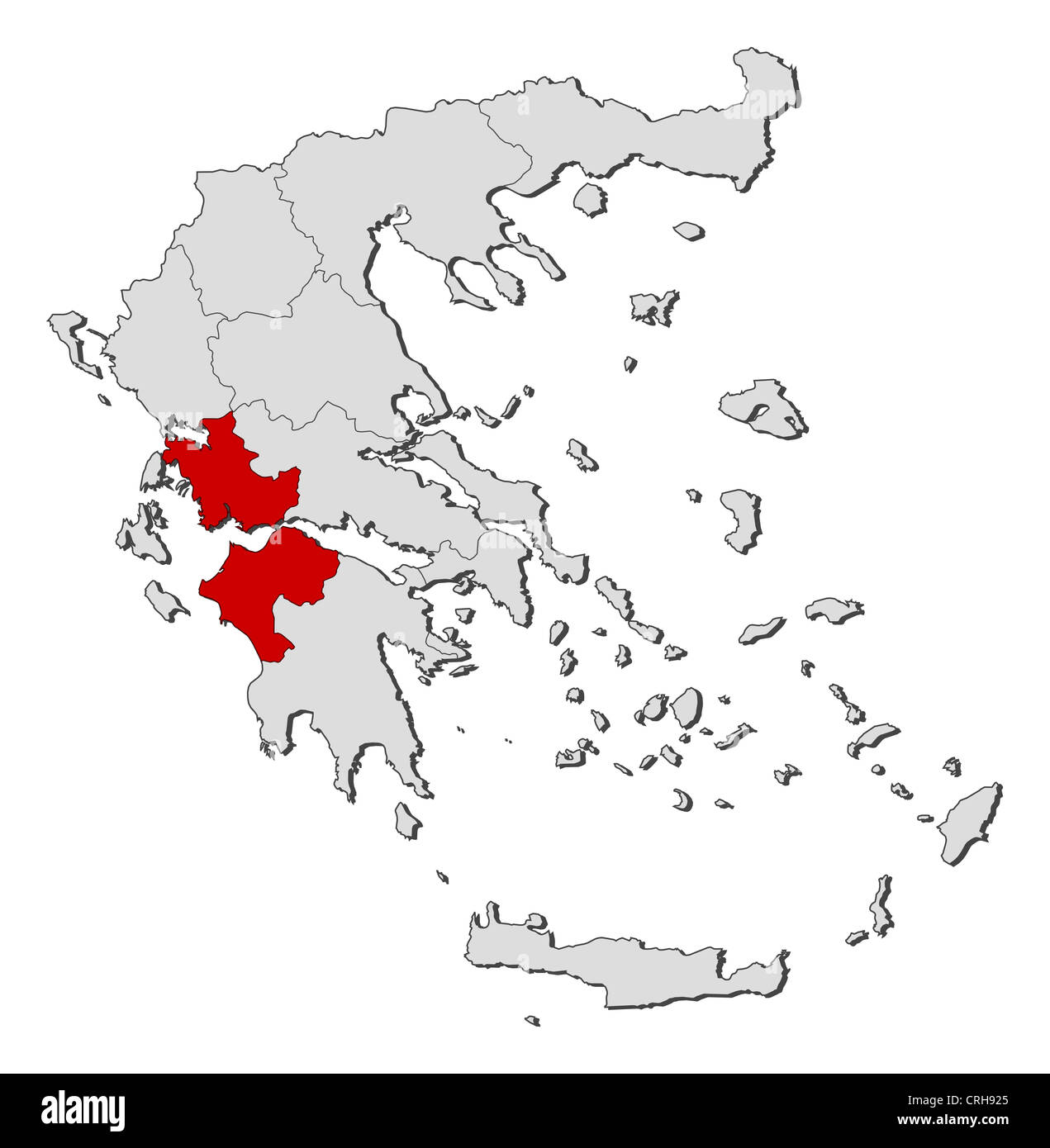 Where Is Greece On World Map.Political Map Of Greece With The Several States Where West Greece Is