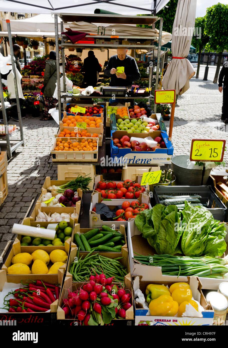 Market stall in Stockholm, Sweden - Stock Image