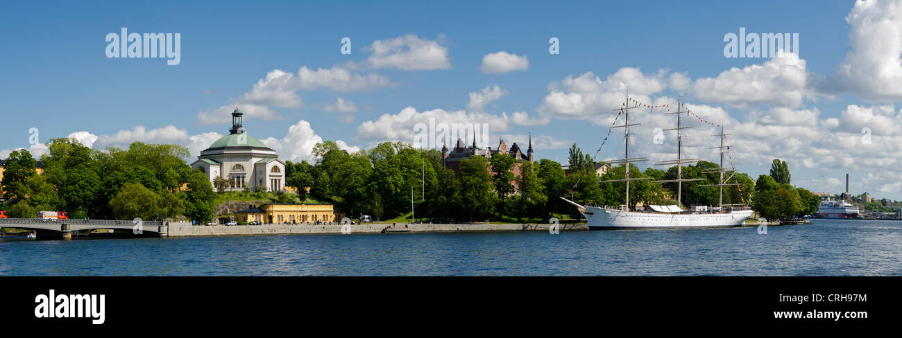 Af Chapman, ship now Youth Hostel at Skeppsholmen island in Stockholm, Sweden next to Admiralty House - Stock Image