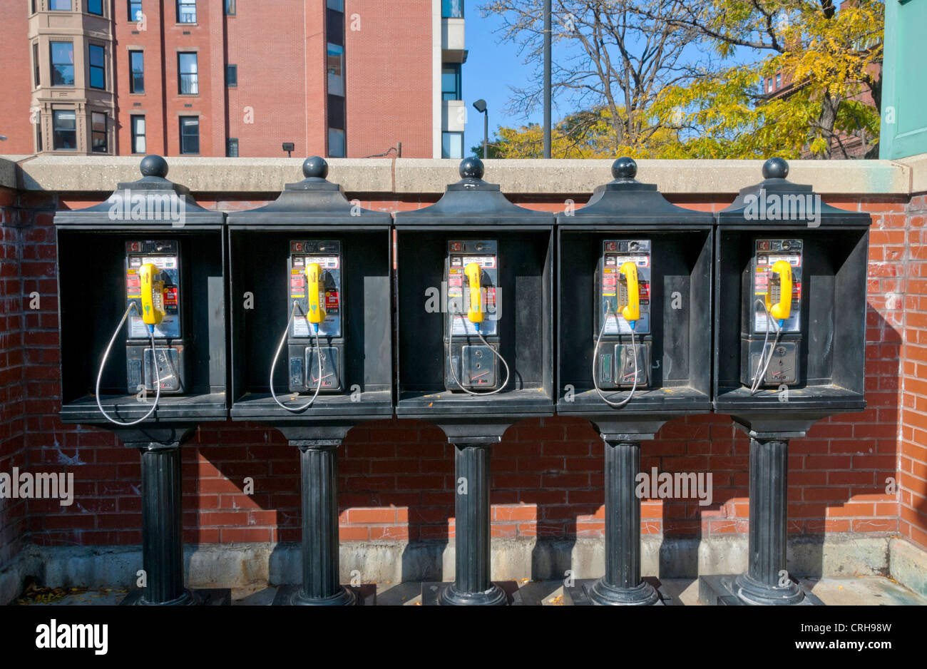Old fashioned payphones in Boston, Massachusetts, USA - Stock Image