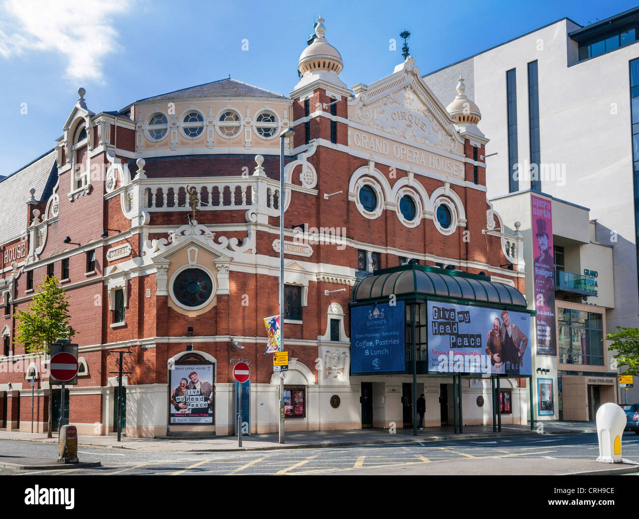 The Grand Opera House, Belfast, Northern Ireland - front view of this old historic building in the city centre - Stock Image
