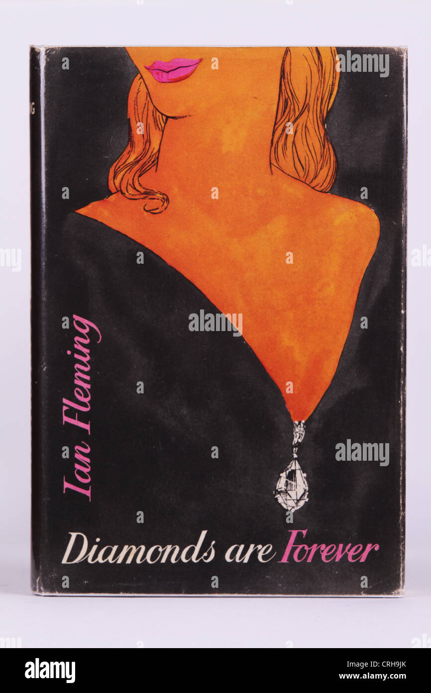 Ian Fleming's Diamonds Are Forever, original British first edition book cover - Stock Image