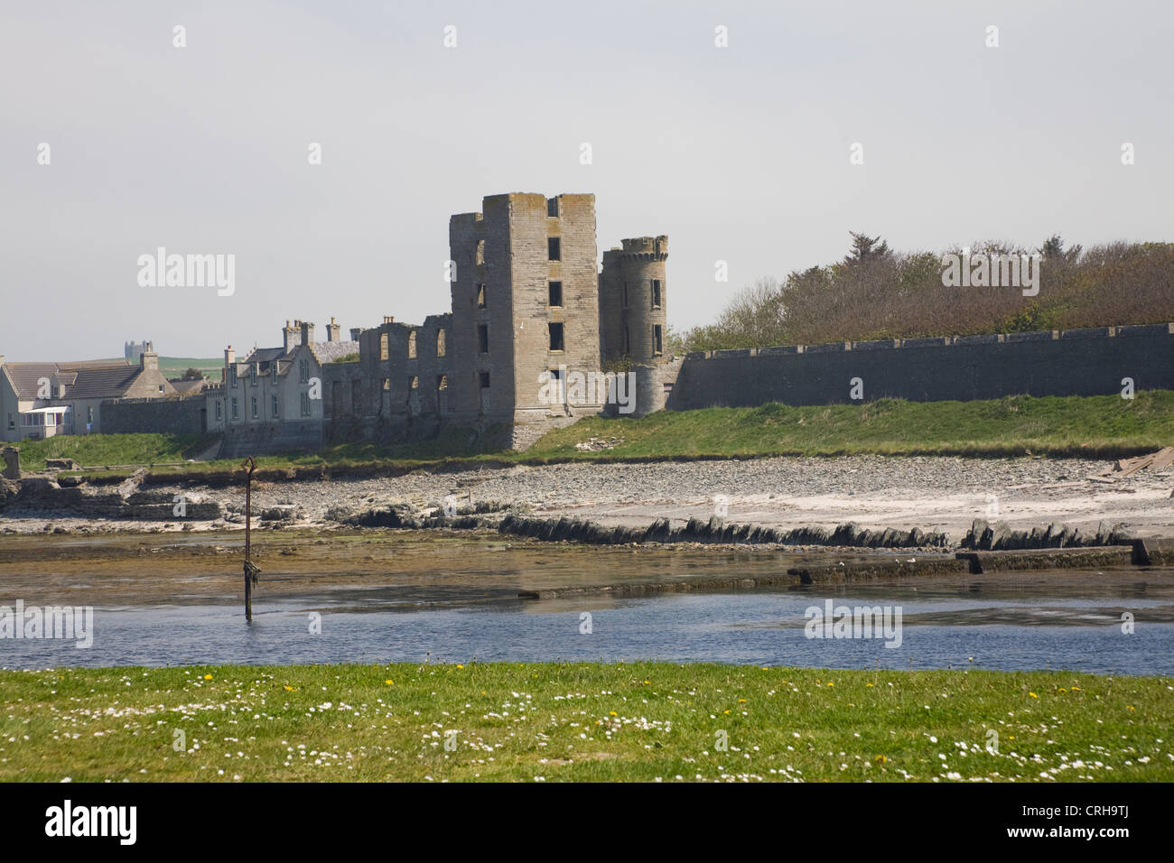 Thurso Caithness North Scotland UK View over River Thurso to ruins of Thurso Castle the northernmost town on the - Stock Image