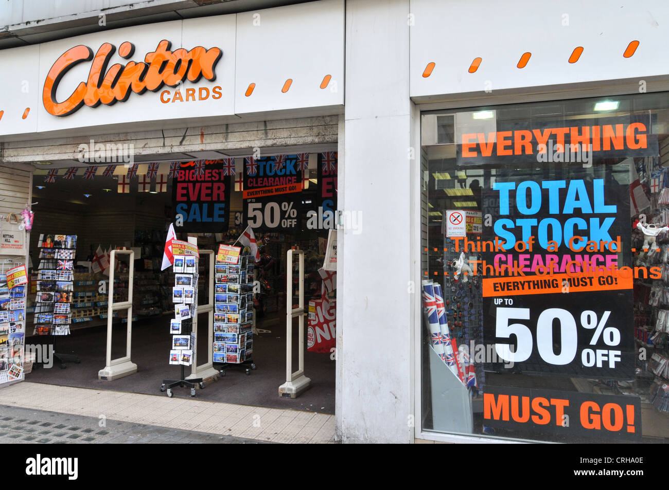 Clinton cards shop with everything must go stock clearance 50 off clinton cards shop with everything must go stock clearance 50 off sale signs clinton cards been bought by american greetings m4hsunfo