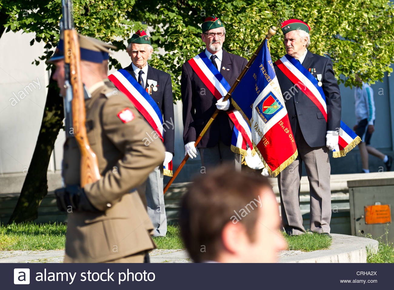French Veterans during a ceremony in Warsaw, Poland - Stock Image
