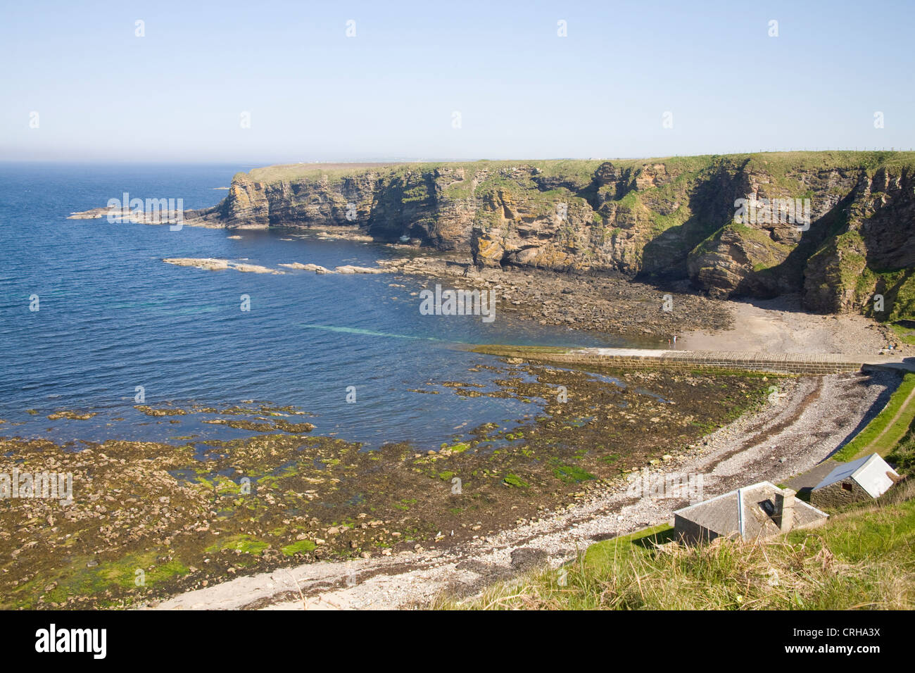 Caithness North Scotland May the rocky cove of Dunnet Head opening into Pentland Firth - Stock Image