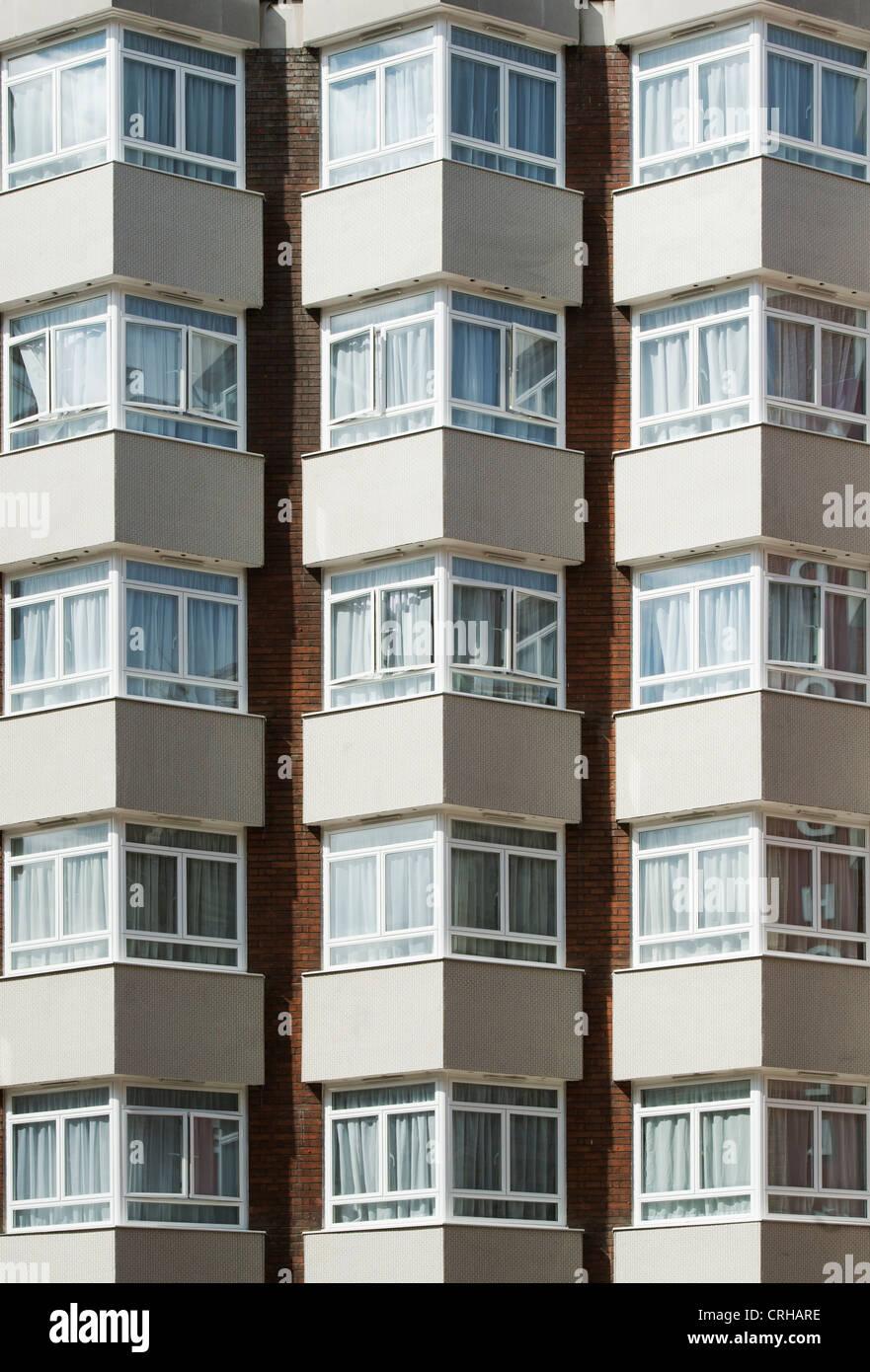 Corner bay windows on a London block of flats. - Stock Image