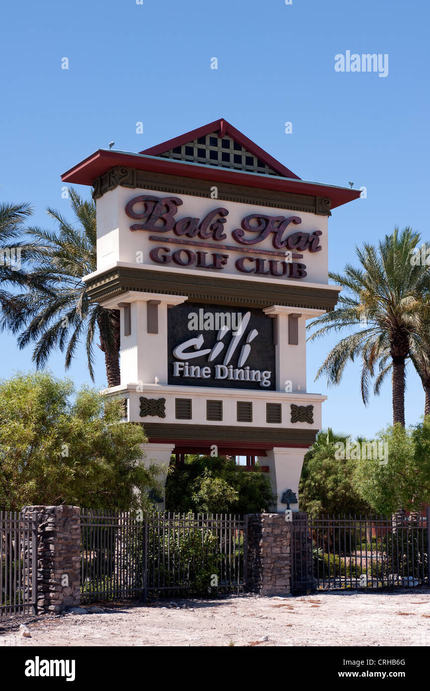Entrance Sign To The Bali Hai Golf Club In Las Vegas Nevada Stock