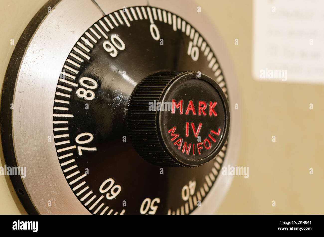 Closeup of a combination lock on a Chubb Mark IV Manifoil military-grade Government standard secure safe Stock Photo