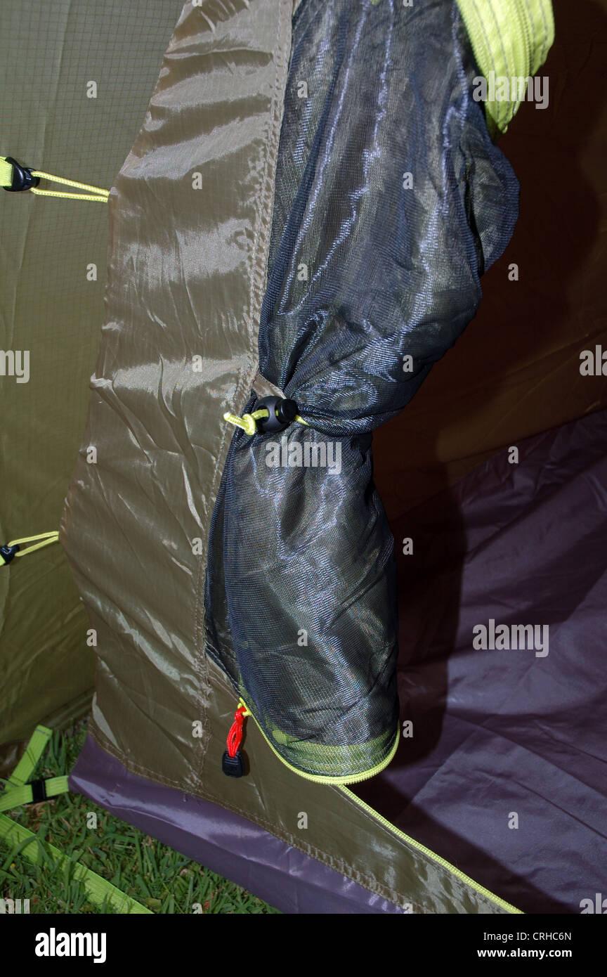 Lightweight tent inner door - Stock Image