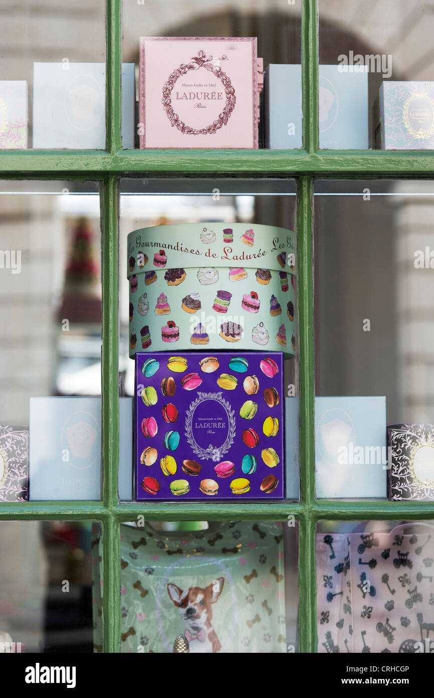 Laduree shop window. Covent Garden, London, England - Stock Image
