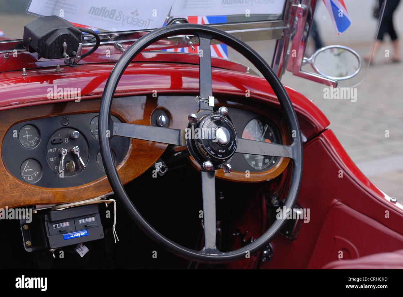 interior of an old Bentley motor car - Stock Image