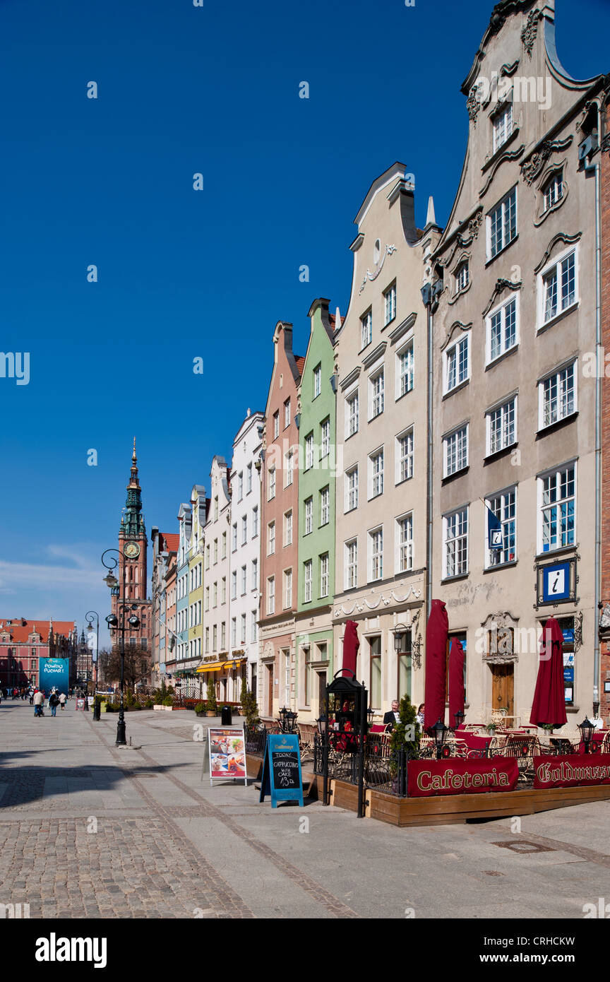 Townhouses overlooking Long Market, Old Town, Gdansk, Poland Stock Photo