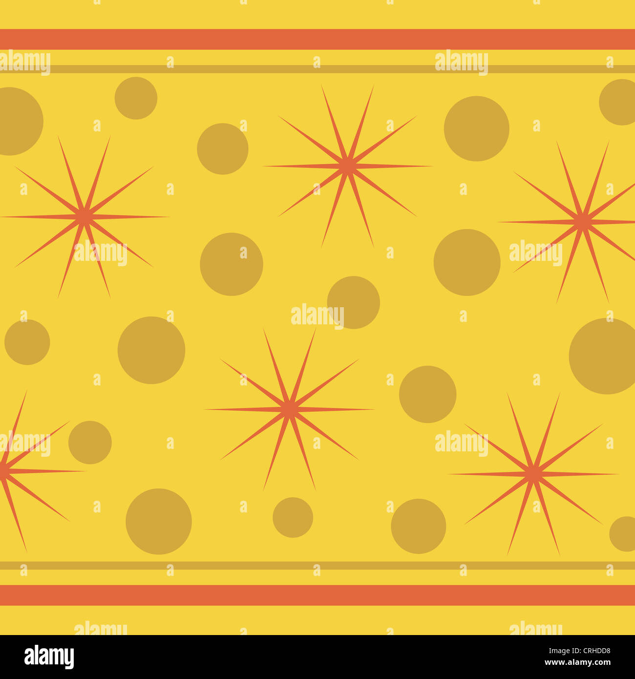 Stars, circles and stripes pattern on yellow Stock Photo