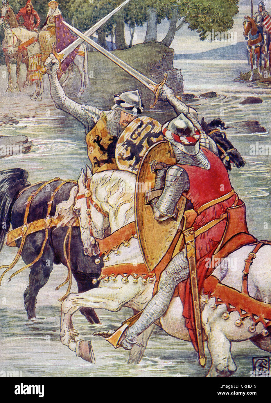 Beaumains (Sir Gareth) is winning the fight against the Green Knight at the ford. - Stock Image