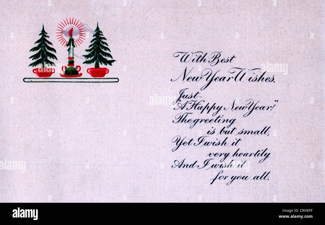 with best new years wishes just a happy new year the greeting is but small yet i wish it very heartily and i wish it for you all vintage new years card