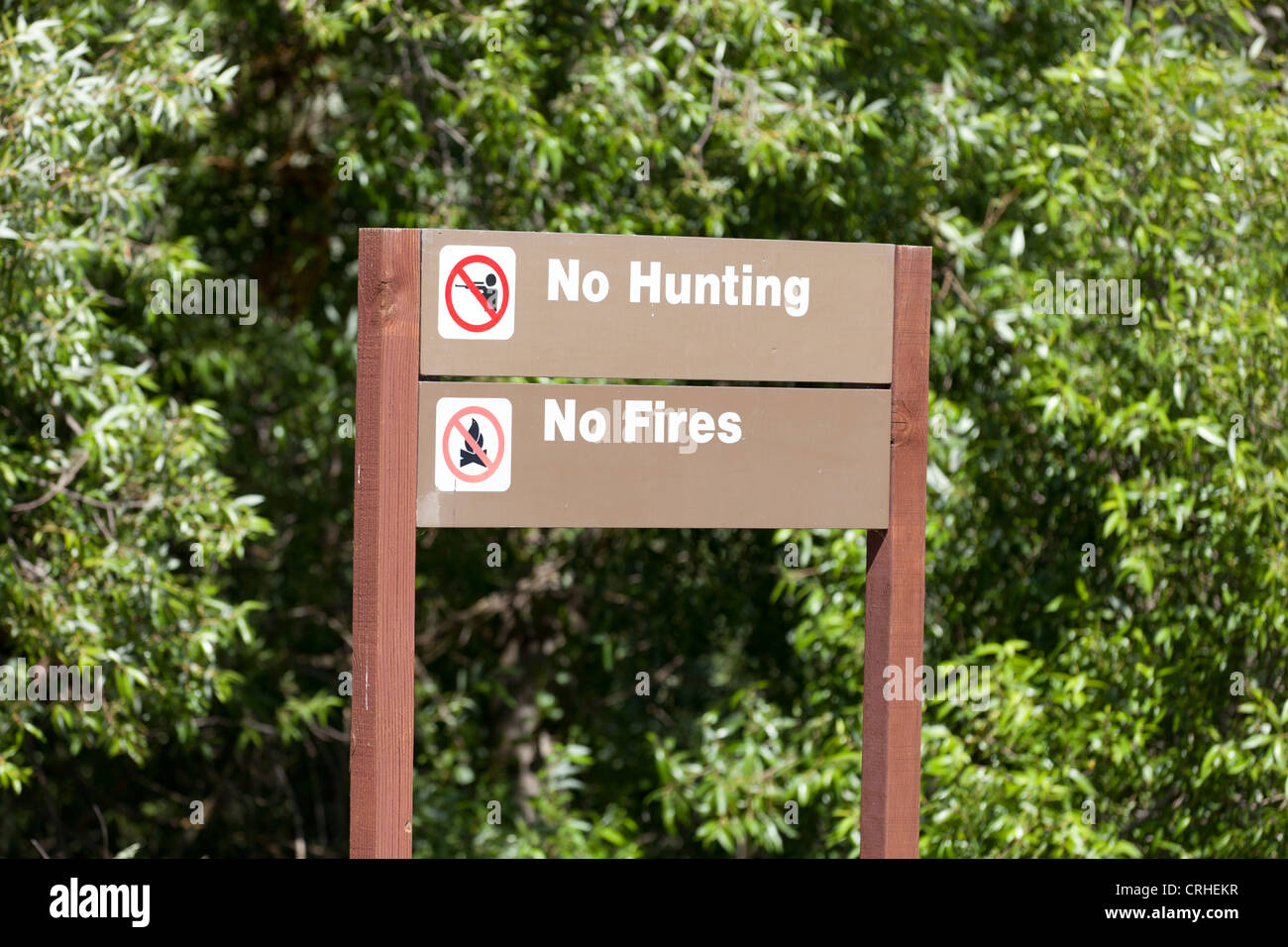 No Hunting No Fires sign - Stock Image