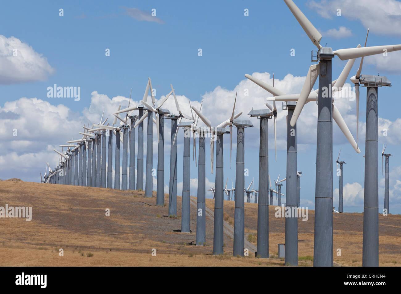 Wind turbines at wind farm - Altamont Pass, California USA - Stock Image