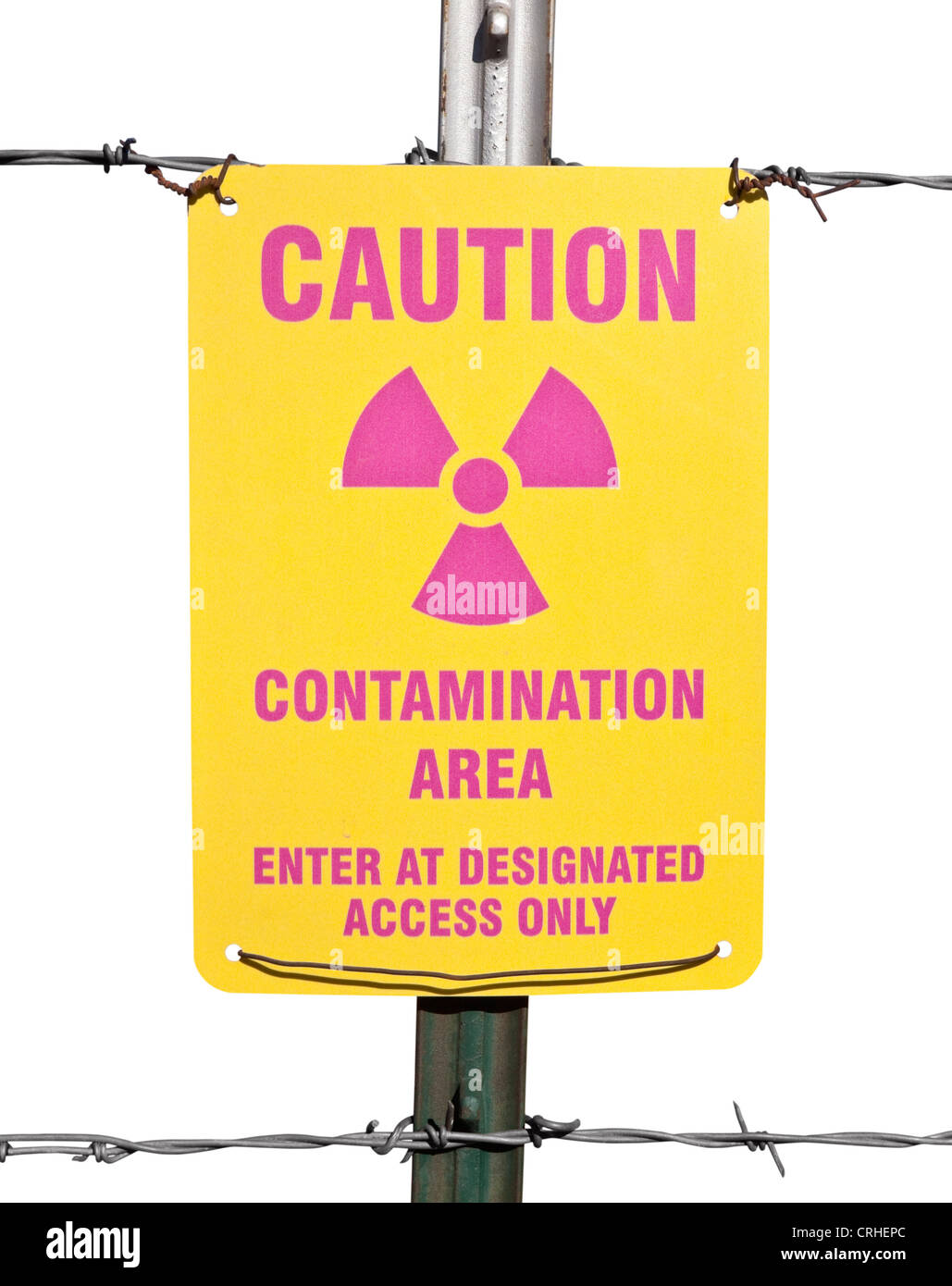 Caution radioactive contamination warning sign with barb wire fence isolated. - Stock Image