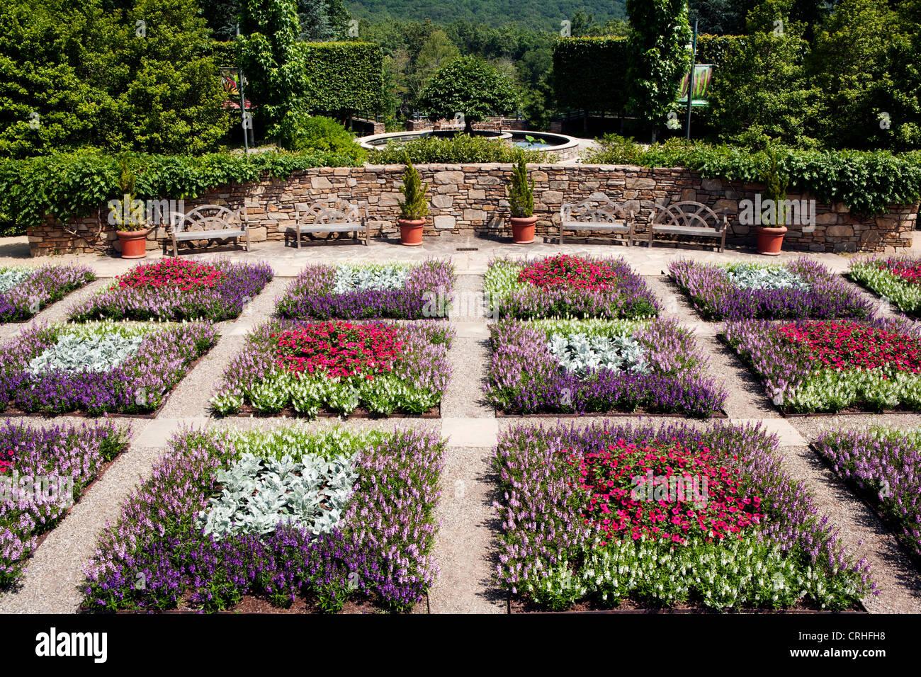 Quilt Garden - North Carolina Arboretum - Asheville, North Carolina, USA - Stock Image