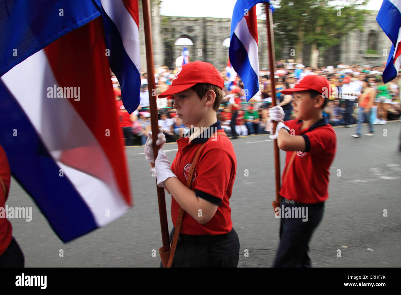 Independence Day Parade on 15th September, Cartago, Costa Rica. - Stock Image