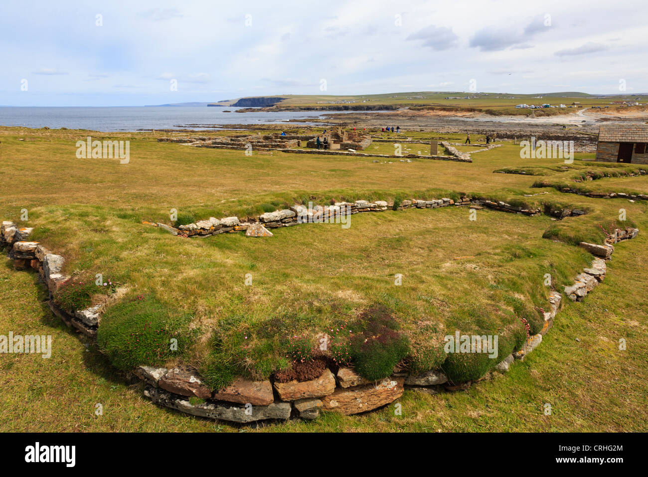 Remains of Norse long house in a 10th century settlement excavated on the Brough of Birsay Orkney Islands, Scotland, - Stock Image