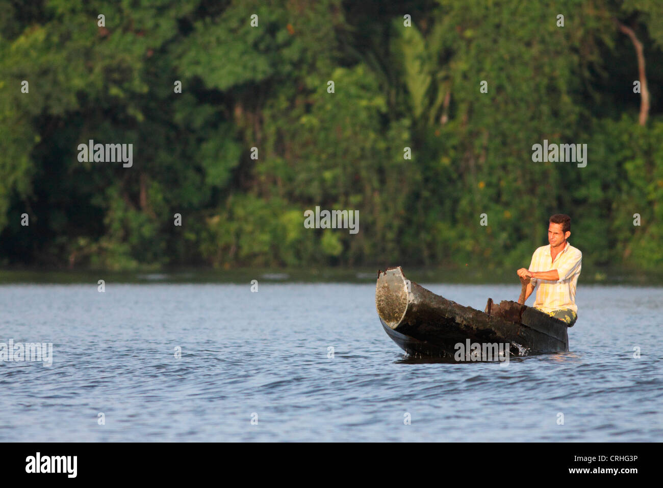 Villager in canoe on natural rainforest canal. Tortuguero National Park. Costa Rica. October 2011. - Stock Image
