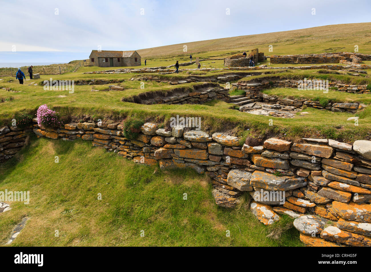 Remains of Norse long houses in a 10th century settlement excavated on the Brough of Birsay Orkney Islands Scotland - Stock Image