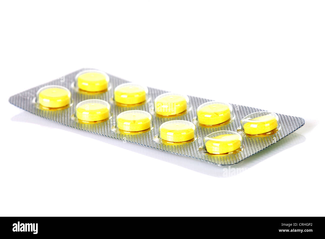 Yellow medicine strip isolated on white background Stock Photo