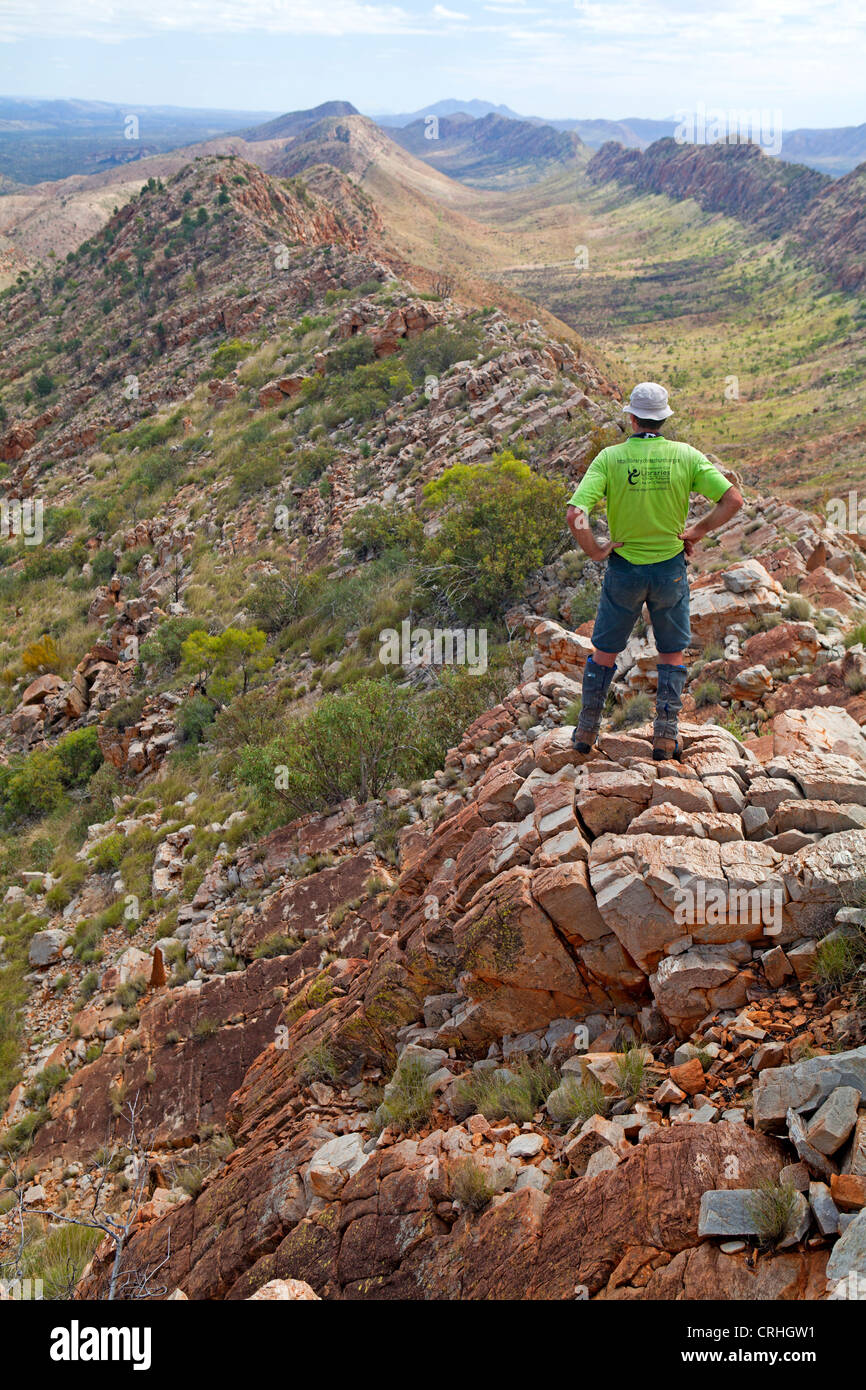 View along the West MacDonnell Ranges to Mt Sonder from Counts Point on the Larapinta Trail - Stock Image