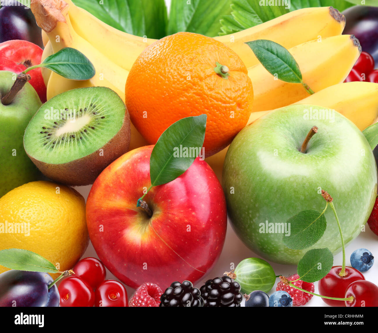 Fruits and berries. Colorful image. - Stock Image