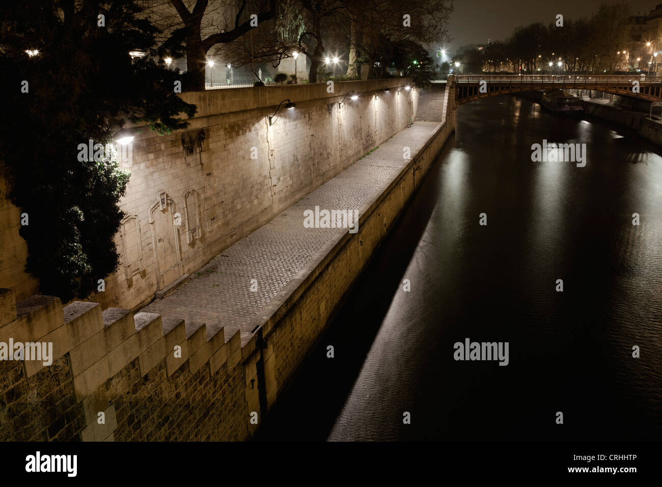 Seine river by night, Paris, France - Stock Image